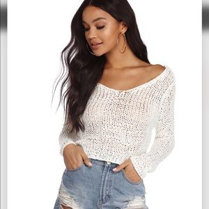 Windsor White Open Knit Cropped Sweater